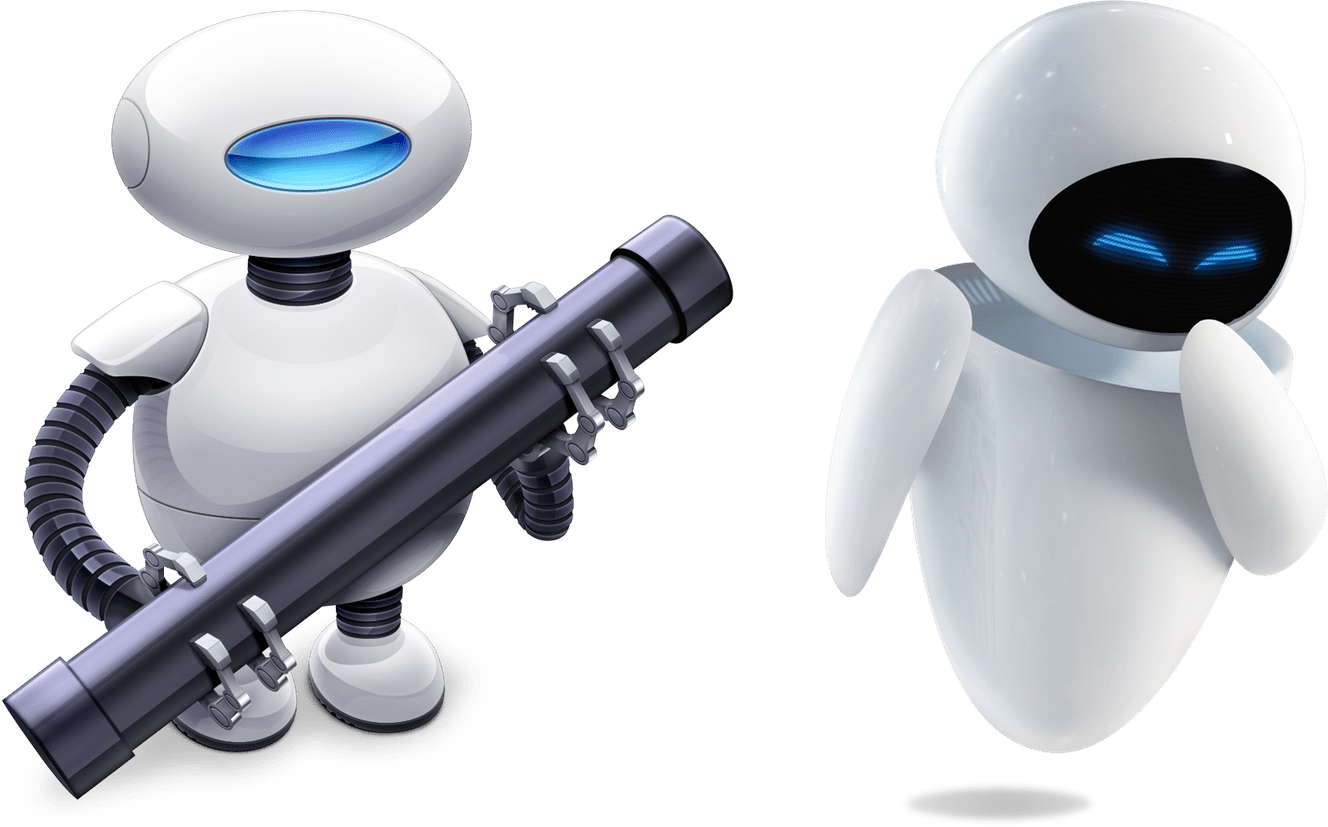Image showing Auto the Automator robot and Wall-E's Eve side-by-side