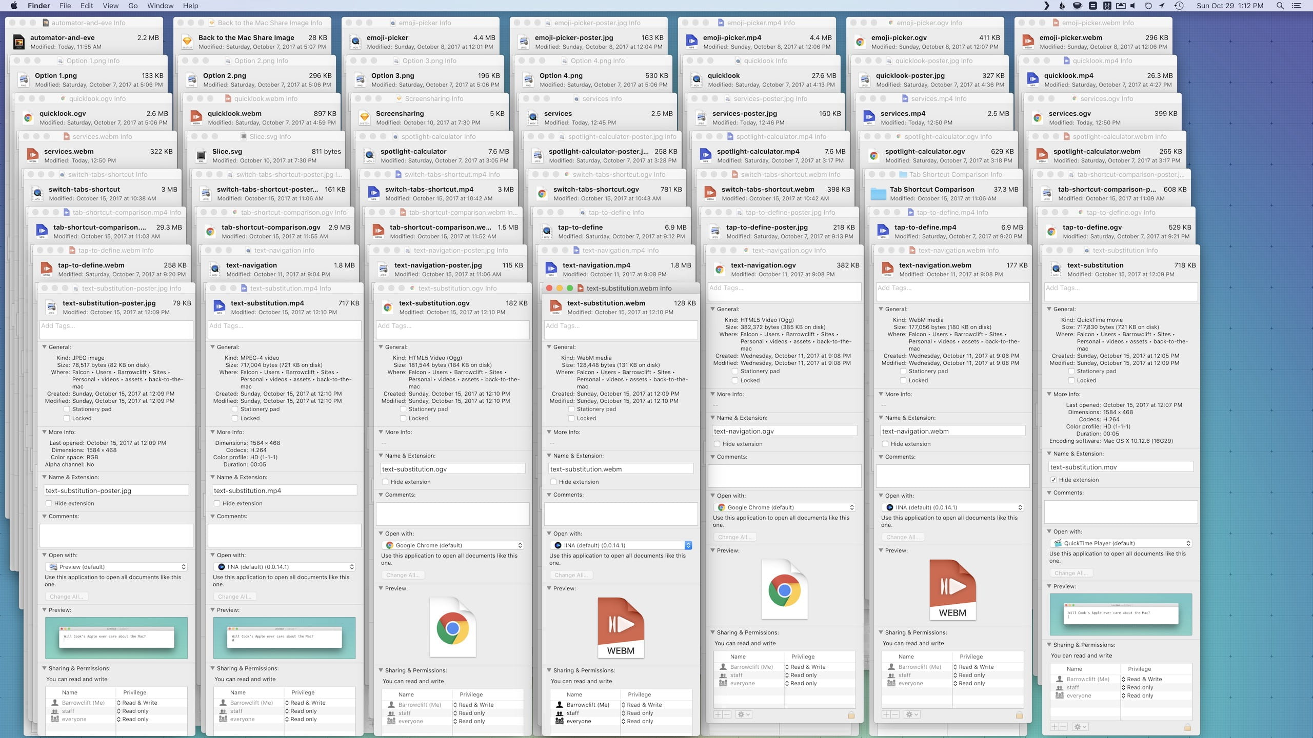 "Loads of Finder ""Get Info"" windows, LOADS OF THEM"