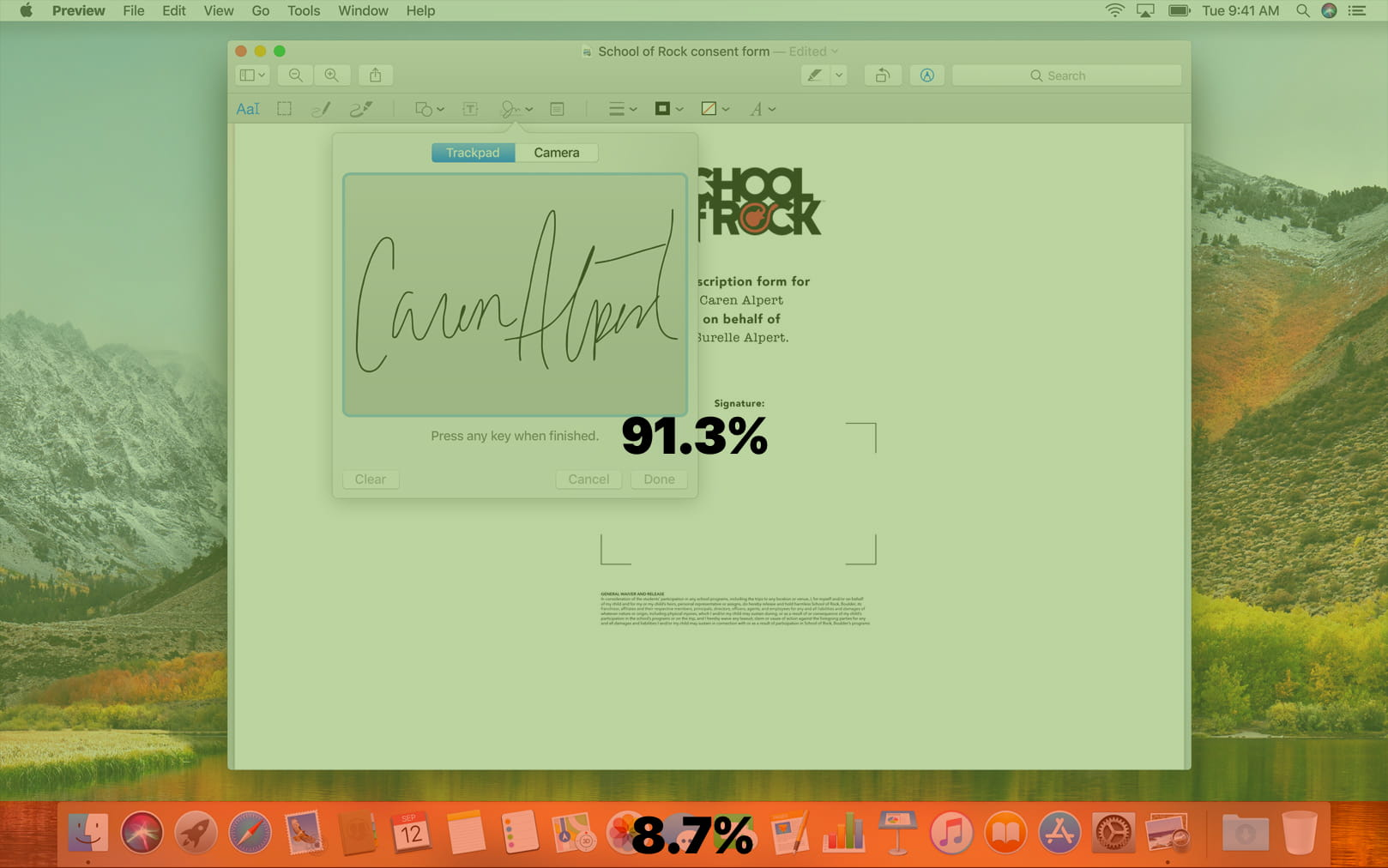 MacBook screenshot showcasing the space taken up by the Dock