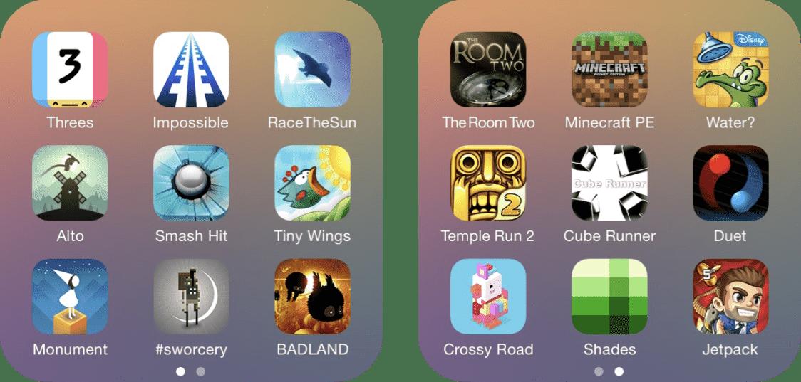 "iOS app folder called ""Games"""