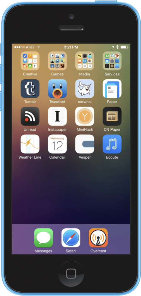My iOS Homescreen, contains folders Creative, Games, Media, and Services in the first row, then Tumblr, Tweetbot, narwhal, Paper, Unread, Instapaper, MiniHack, DN Paper, Weather Line, Calendar, Vesper, and Ecoute. In the dock there are Messages, Safari, and Overcast