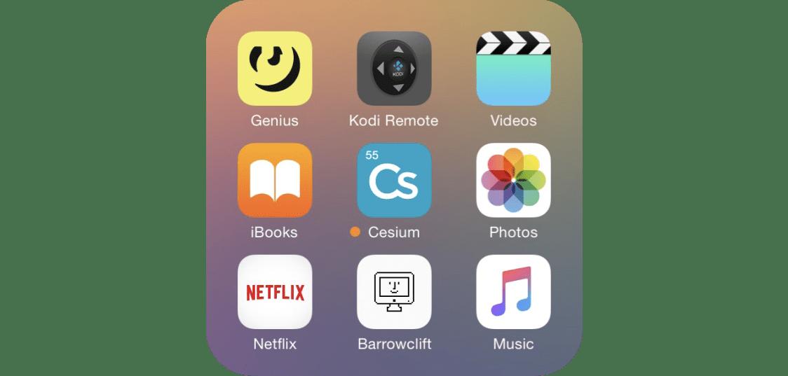 "iOS app folder called ""Media"", containing Genius, Kodi Remote, Videos, iBooks, Cesium, Photos, Netflix, Barrowclift.me web shortcut, and Music"