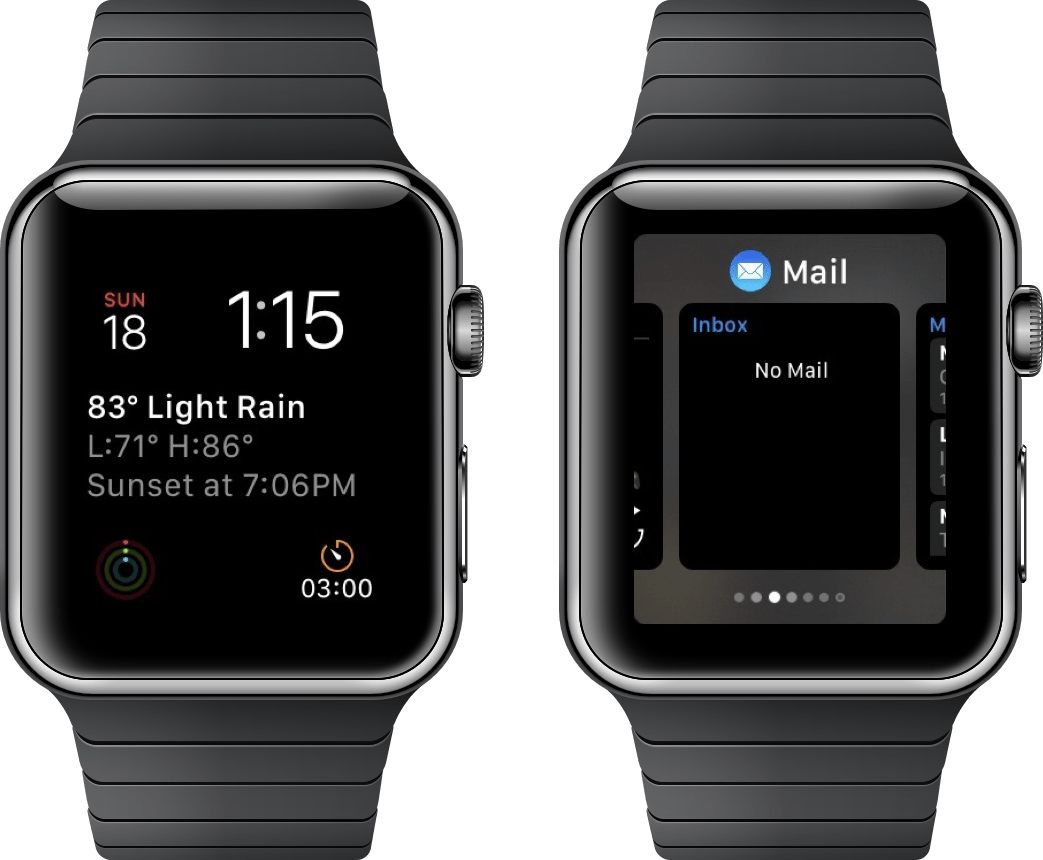Screenshots showing the watchOS Dock
