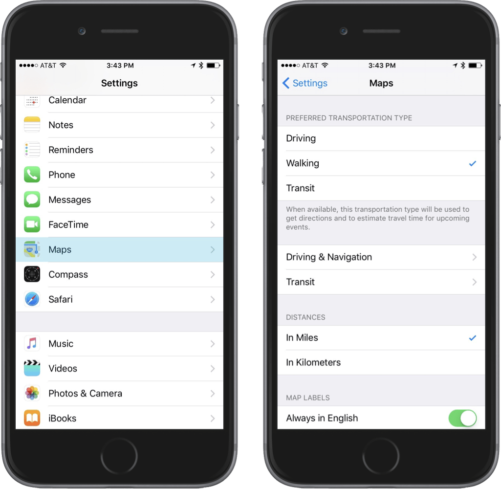 Screenshots showing how to change iOS's preferred transportation setting