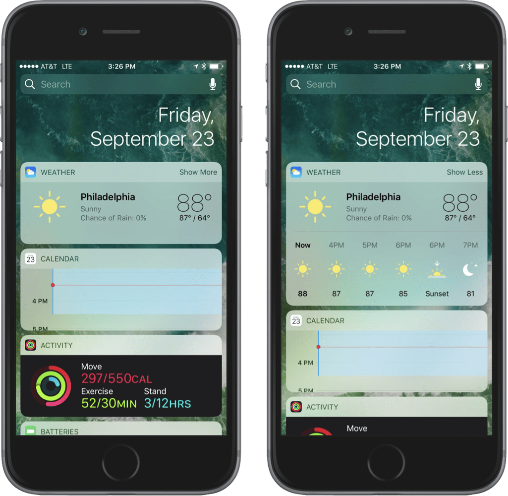 Screenshots comparing collapsed vs. expanded iOS widgets