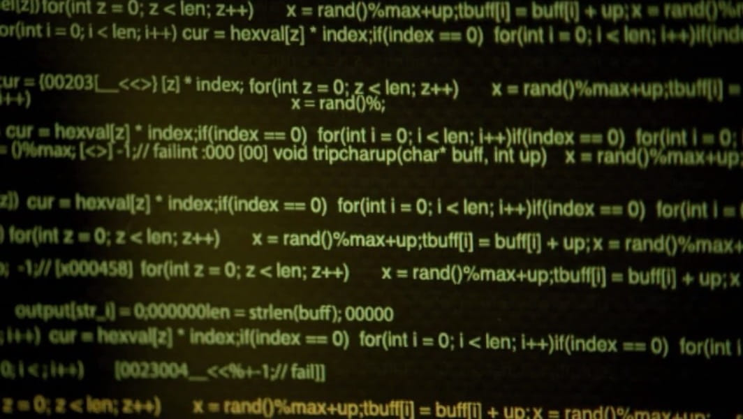 An image of a computer screen filled with poorly written and formatted code from the NBC TV series XIII, click this image to go to moviecode's source post at tumblr.com