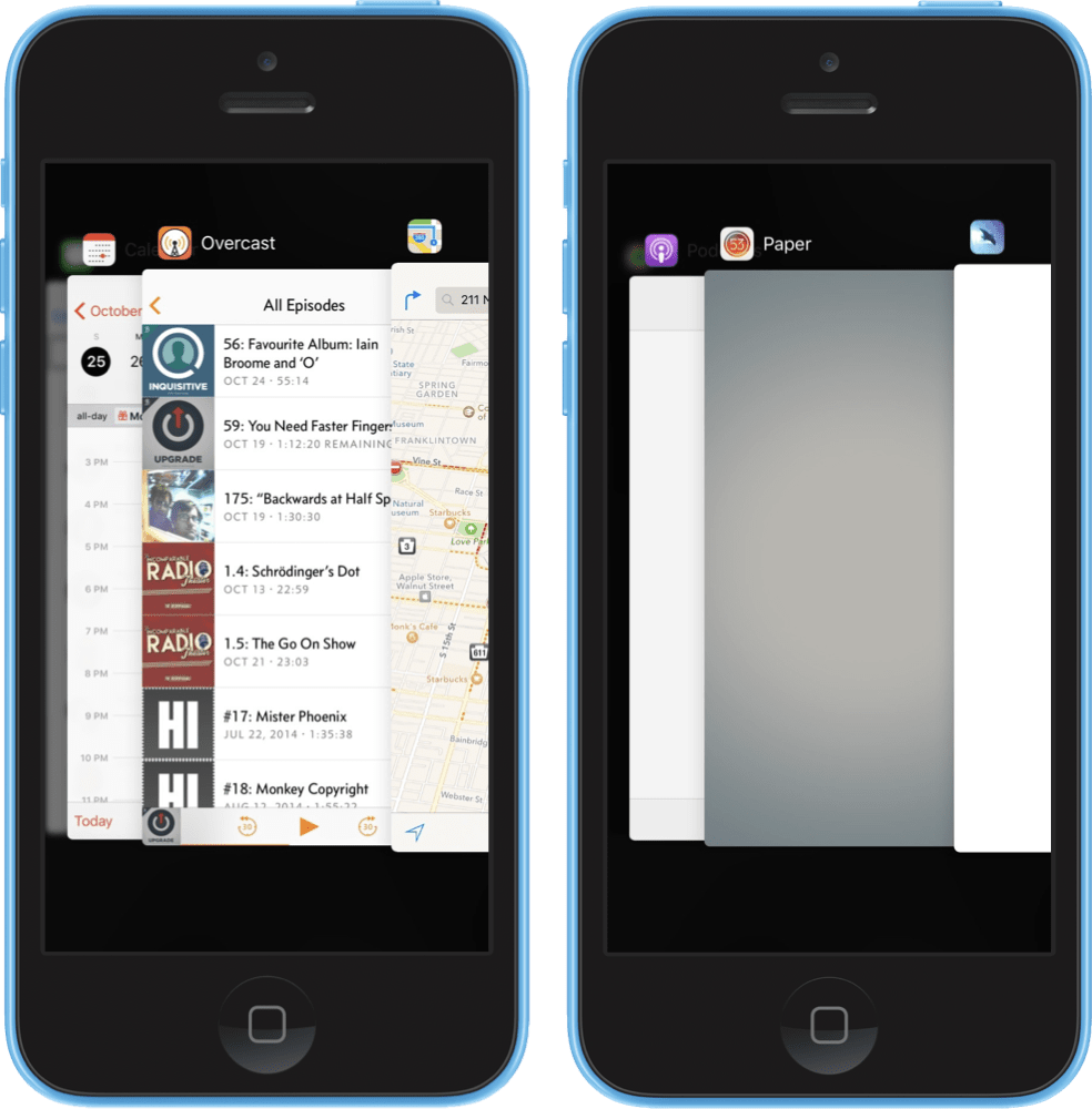 The iOS app switcher view