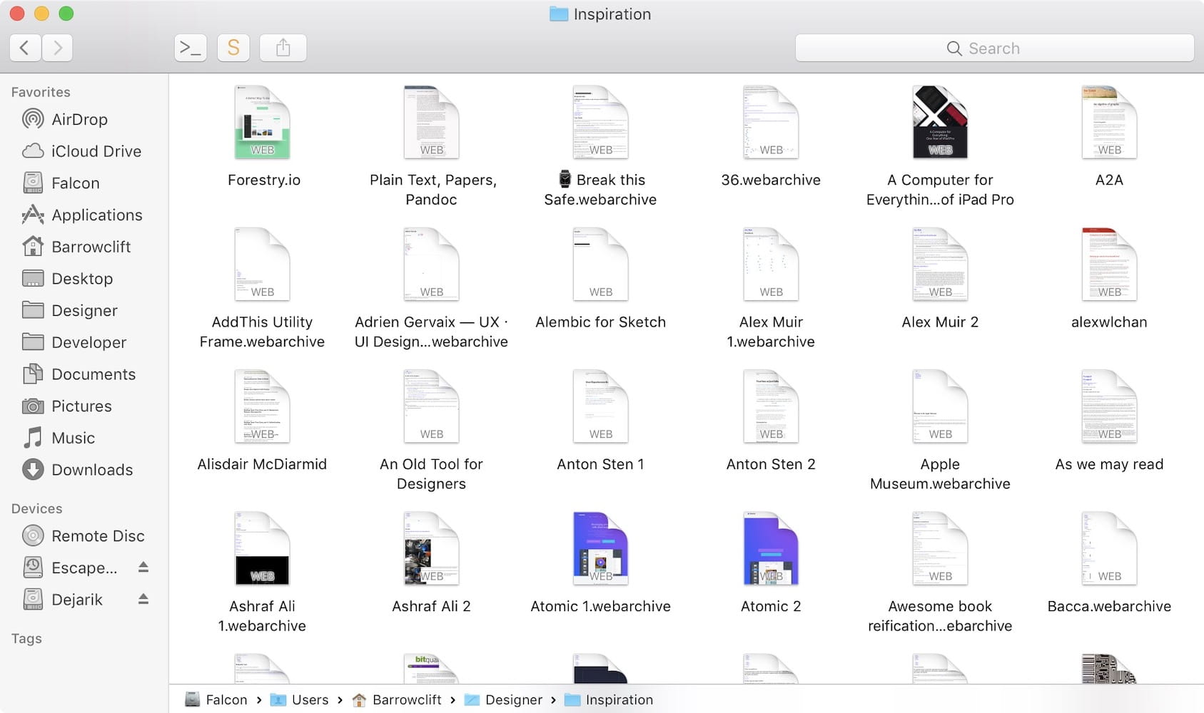 A screenshot of a macOS Finder window of a folder filled with archived web pages. These pages are not organized at all.