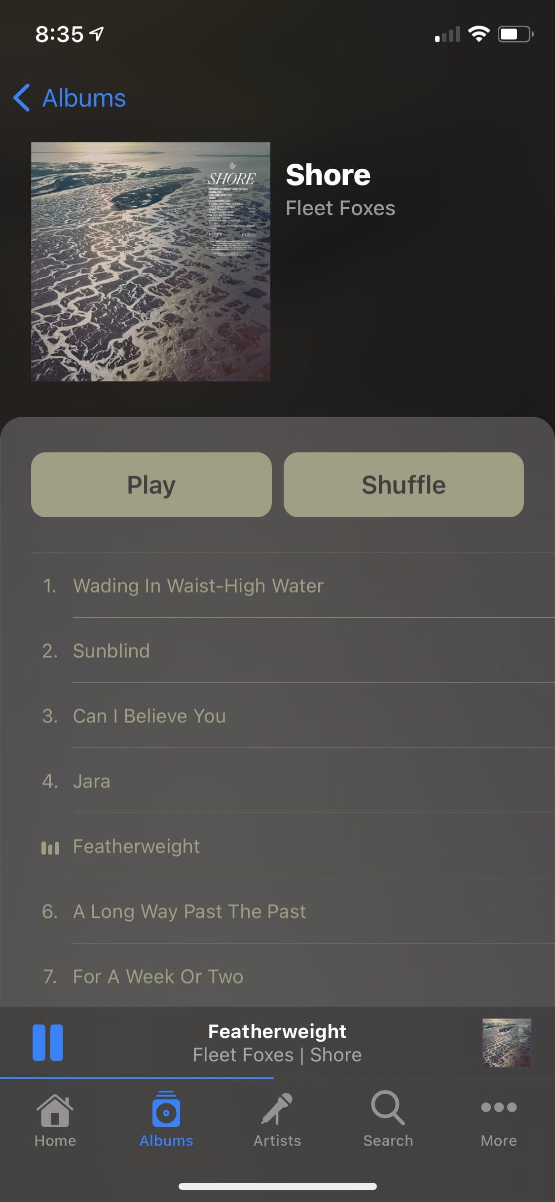 "Image of ""Power Player"" dark theme album view"