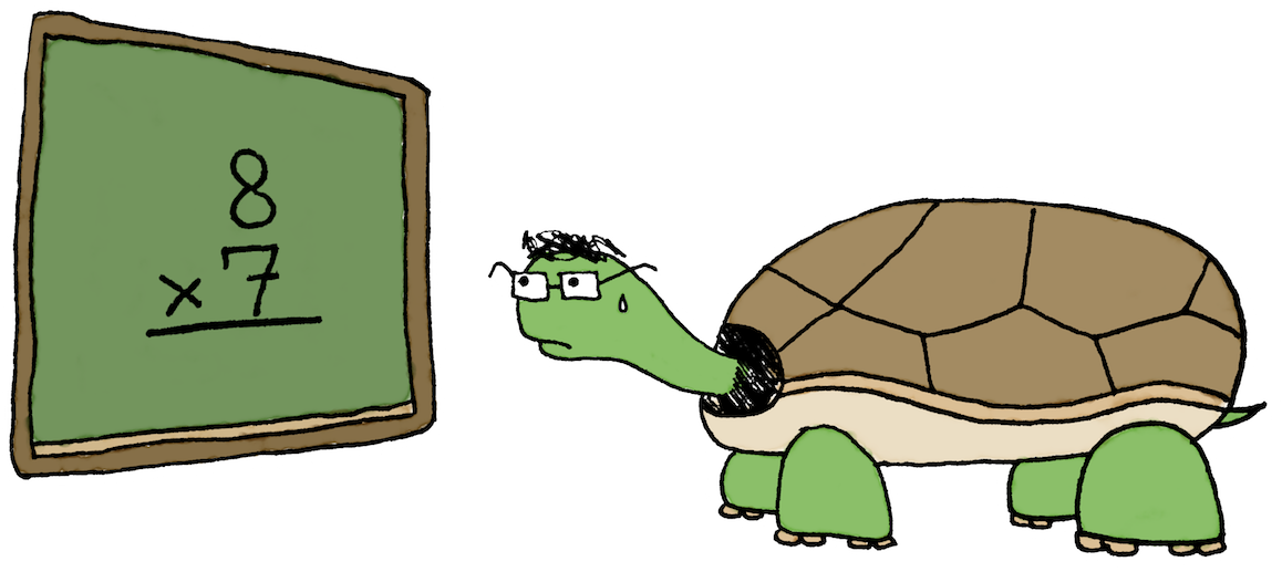A cartoon of a turtle nervously trying to figure out a simple arithmetic problem at the school chalkboard