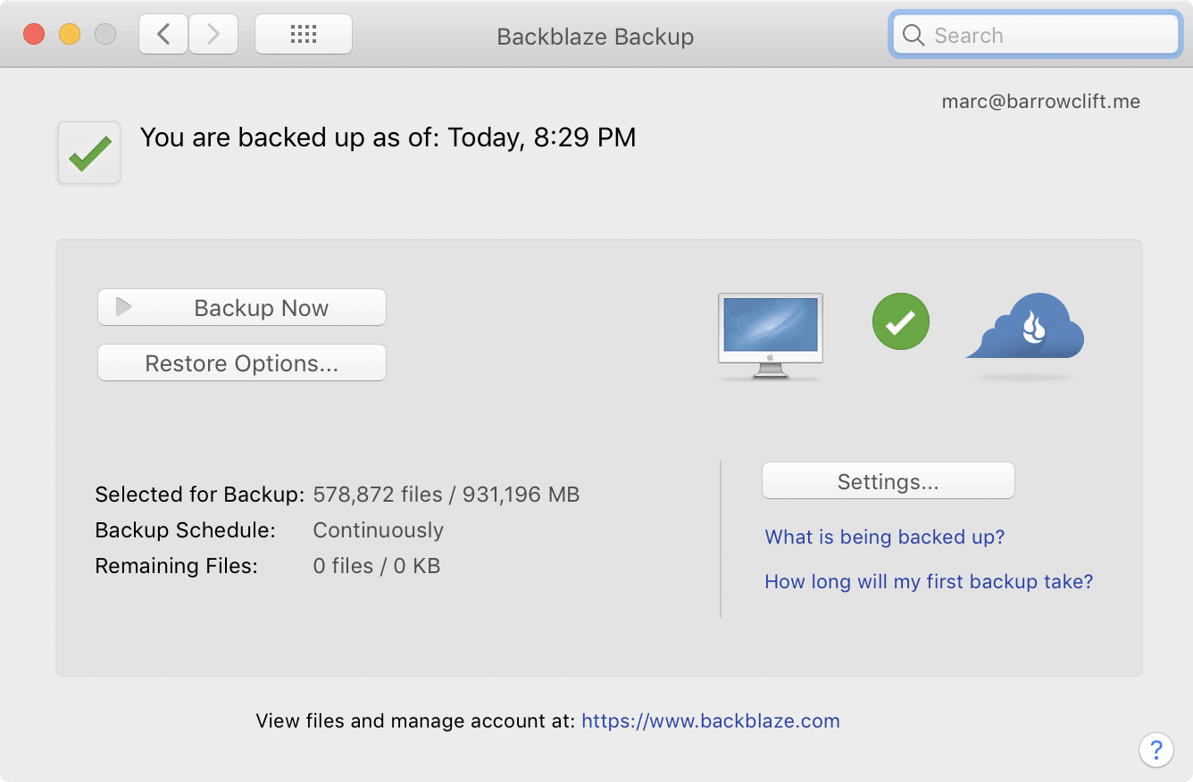 A screenshot of Backblaze's preference pane on macOS